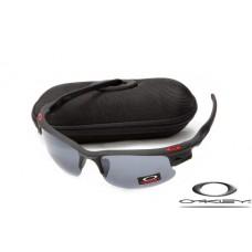 Wholesale Faux Oakley Fast Jacket Sunglasses Reluster Black Frame Gray Lens For Sale